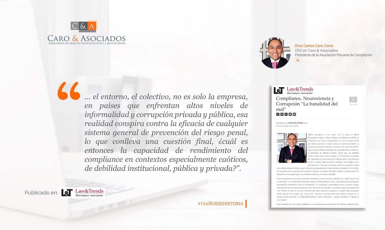 Dino Carlos Caro Coria, Artículo Publicado En Lawandtrends (Madrid) (24.9.20)