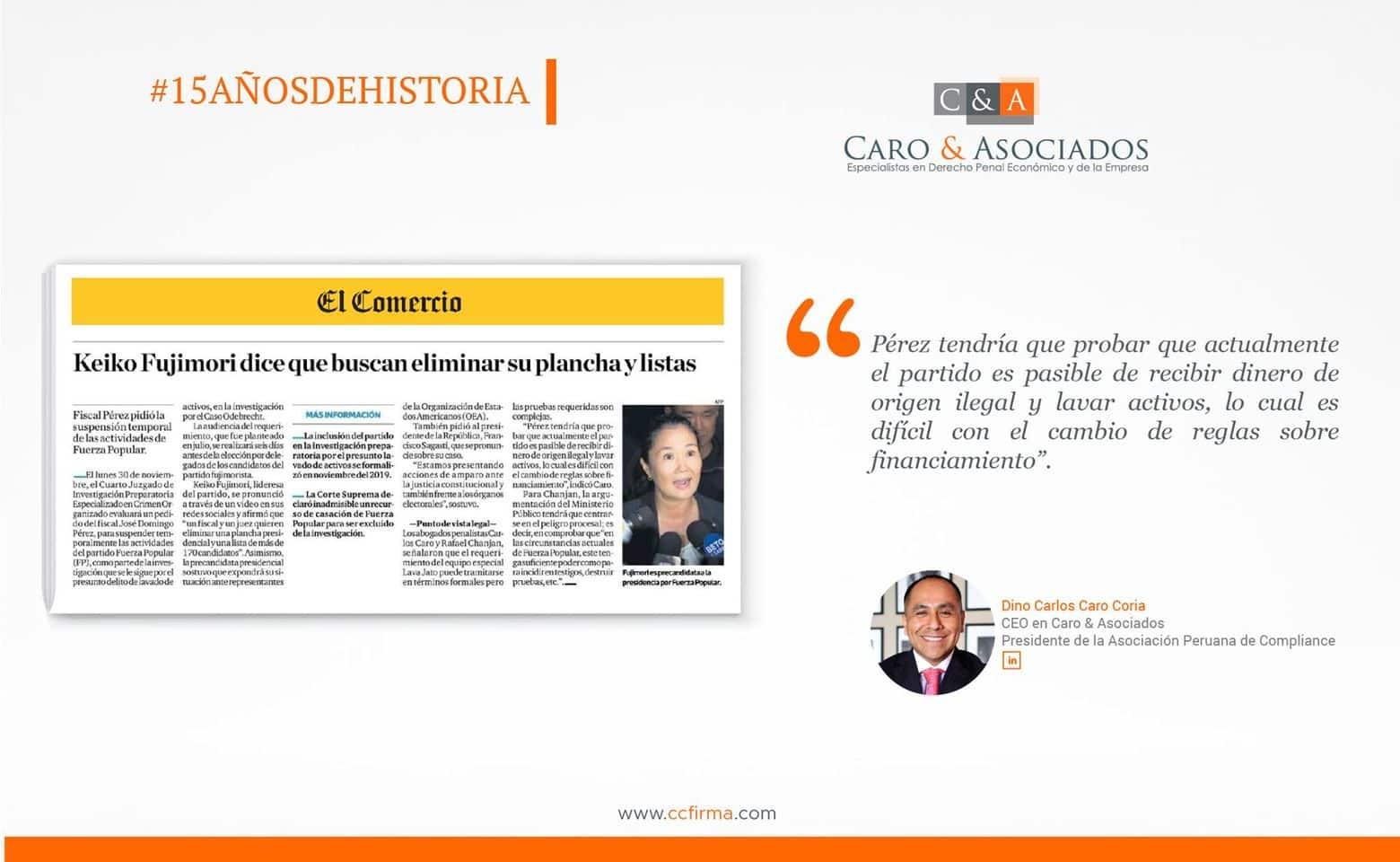 Dino Carlos Caro Coria , comenta para Diario El Comercio (Perú) (20.11.20)