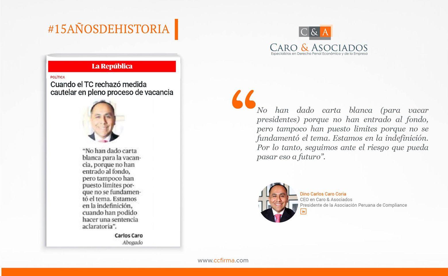 Dino Carlos Caro Coria , comenta para Diario La República (19.11.20)
