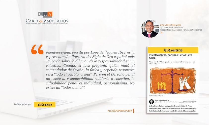 """Artículo de Dino Carlos Caro Coria, publicado en el Diario El Comercio (Perú) (30.11.20) """"Fuenteovejuna""""."""