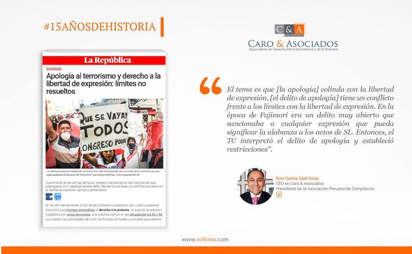 Comentarios De Dino Carlos Caro Coria En La Reciente Nota Publicada En El Diario La República (7.12.20): «Apología Al Terrorismo Y Derecho A La Libertad De Expresión: Límites No Resueltos»