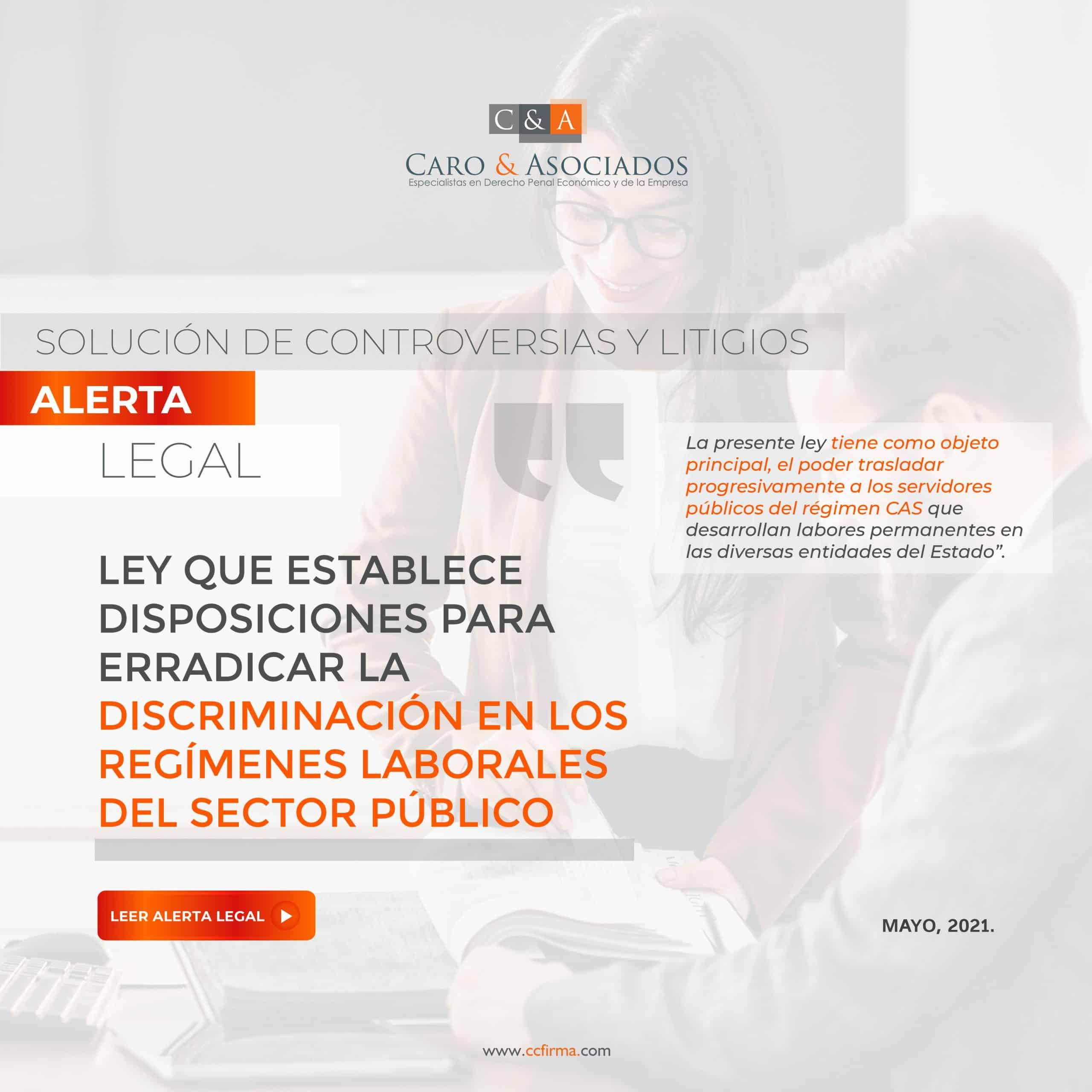 Alerta Legal: Ley Que Establece Disposiciones Para Erradicar La Discriminación En Los Regímenes Laborales Del Sector Público